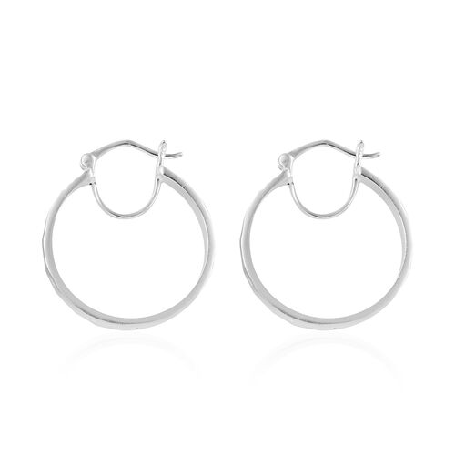 Italian Made-Sterling Silver  Hoop Earrings (with Clasp), Silver wt 5.80 Gms.