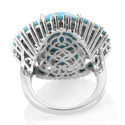 Arizona Sleeping Beauty Turquoise (Ovl and Rnd) Ring in Platinum Overlay Sterling Silver 10.750 Ct, Silver wt 7.95 Gms.