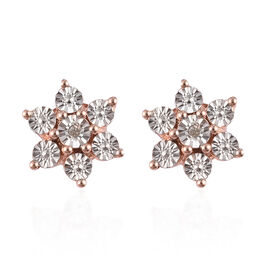 Diamond Floral Stud Earrings (with Push Back) in Rose Gold Overlay Sterling Silver