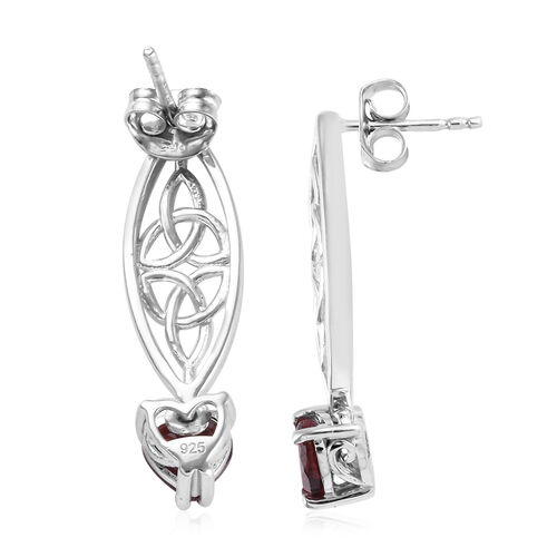 Mozambique Garnet (Hrt) Earrings (with Push Back) in Platinum Overlay Sterling Silver 1.75 Ct.