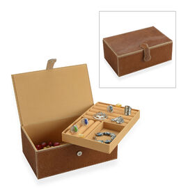 2-Tier Camel Brown  Natural Leather Jewellery Box with Magnetic Flap Closure and Velvet Lining (Size