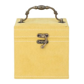 Mustard Velvet 3 layer jewelry box with mirror vintage style handle and lock