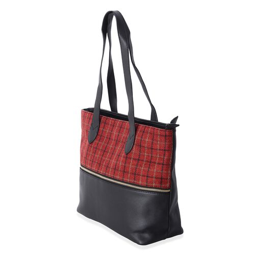 Moorgate Checkered Pattern Large Tote Bag with External Zipper (Size 37x29x27x12.5 Cm)