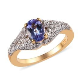 Tanzanite (Ovl), Natural Cambodian Zircon Ring in 14K Gold Overlay Sterling Silver 1.25 Ct.