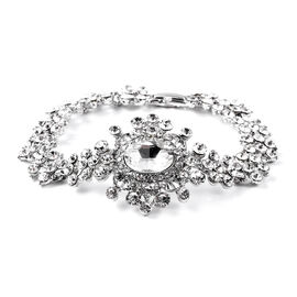 Simulated Diamond and White Austrian Crystal Victorian Design Bracelet in Silver Tone 7.5 Inch