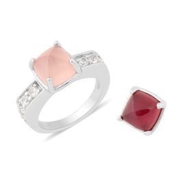 Sundays Child - African Ruby (FF) and Rose Quartz, Natural Cambodian Zircon Detachable Stone Ring in