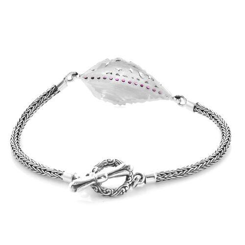 Bali Legacy Collection - African Ruby (Rnd) Tulang Naga Leaf Bracelet (Size 7.5) in Sterling Silver Silver wt 13.90 Gms