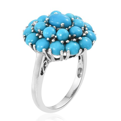 Arizona Sleeping Beauty Turquoise (Rnd) Flower Ring in Platinum Overlay Sterling Silver 5.000 Ct.