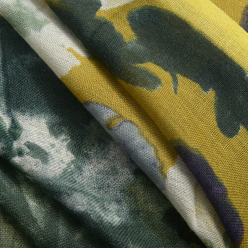 40% WOOL Floral Pattern Yellow and Multi Colour Scarf (Size 70X180 Cm)