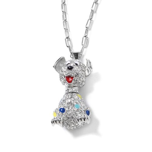 Close Out Deal - White Austrian Crystal (Rnd) Dog Pendant With Chain (Size 28 with 2.50 inch Extender) in Silver Plated with Enameling.