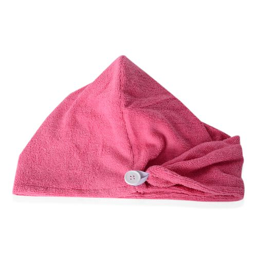 Set of 3 - White and Rose Pink Colour Bath Set including 1 Shower Cap (Size 27 Cm), 1 Bath Flower Pad (Size 15x15 Cm) and 1 Hair Wrap (Size 62x24 Cm)