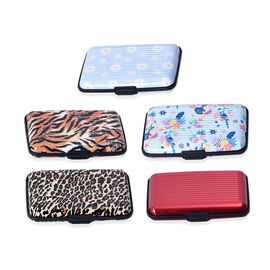 Set of 5 - Printed RFID Blocking Card Holder (Size 11x7x2 Cm) - Red and Multi Colour
