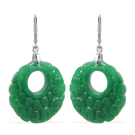 Carved Green Jade Floral Circular Earrings (with Lever Back) in Sterling Silver 37.50 Ct.
