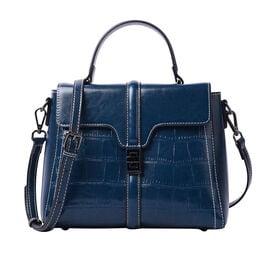 Sencillez Croc Embossed 100% Genuine Leather Convertible Bag in Teal