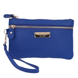 100% Genuine Leather Wristlet  Pouch with Zipper Closure (Size 12x18 Cm) - Colour of the Year - Clas
