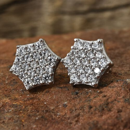 WEBEX- J-Francis Platinum Overlay Sterling Silver Cluster Earrings (with Push Back) Made with SWAROVSKI ZIRCONIA