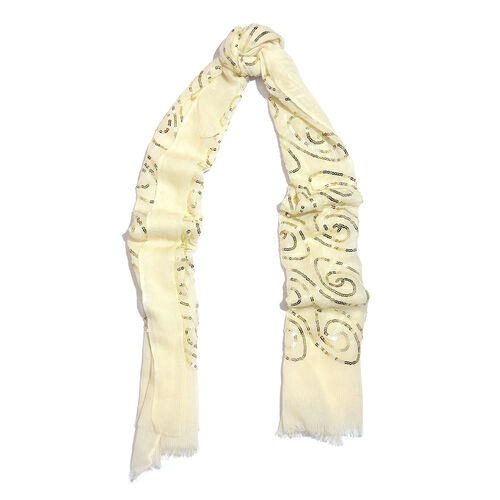 100% Merino Wool Sequins Embellished Cream Colour Scarf with Fringes (Size 170X70 Cm)