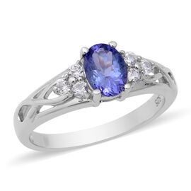 Tanzanite (Ovl 7x5mm), Natural Cambodian Zircon Ring in Rhodium Overlay Sterling Silver 1.01 Ct.
