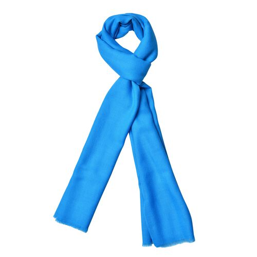 100% Wool Lake Blue Colour Scarf with Fringes (Size 190X70 Cm)