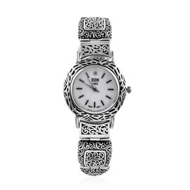 Royal Bali Collection EON 1962 Diamond Studded and Swiss Movement Sterling Silver Watch (Size 8.25),