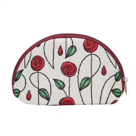 Signare - NEW Big Cosmetic Bag in Mackintosh Simple Rose Design (24.5 x 15.5 x 8.8cms) - Off-White