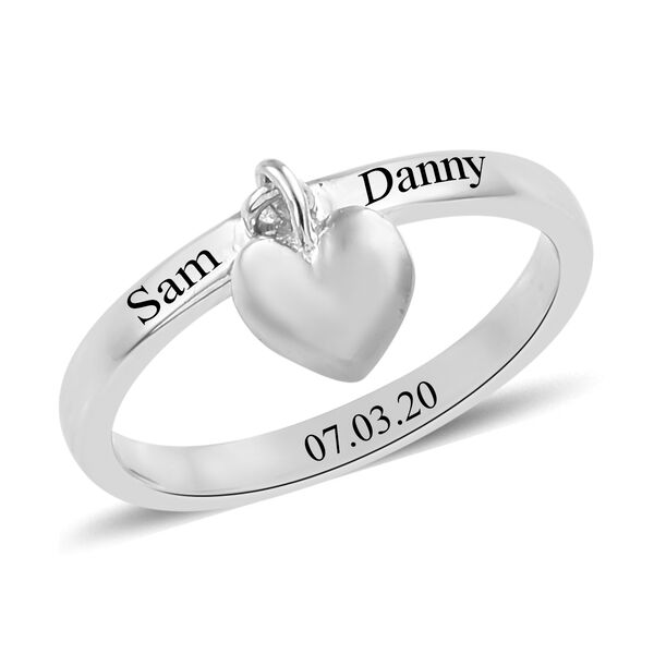 Personalised Engrabable Platinum Overlay Sterling Silver Band Ring with Heart Charm
