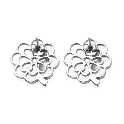 Platinum and Yellow Gold Overlay Sterling Silver Enamelled Tree Stud Earrings (with Push Back), Silver wt. 8.50 Gms