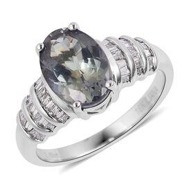 ILIANA 18K White Gold AAA Green Tanzanite (Ovl 2.69 Ct), Diamond (SI/G-H) Ring 2.940 Ct.