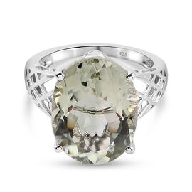 Prasiolite Solitaire Ring in Platinum Overlay Sterling Silver 8.25 Ct.