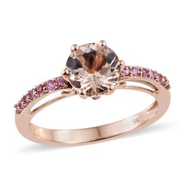 9K Rose Gold AAA Marropino Morganite (Rnd 1.70 Ct), Pink Sapphire Ring 2.000 Ct.