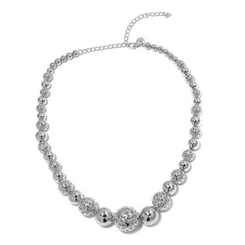 RACHEL GALLEY Rhodium Overlay Sterling Silver Globe Necklace (Size 16 with 4 inch Extender), Silver wt 80.16 Gms.
