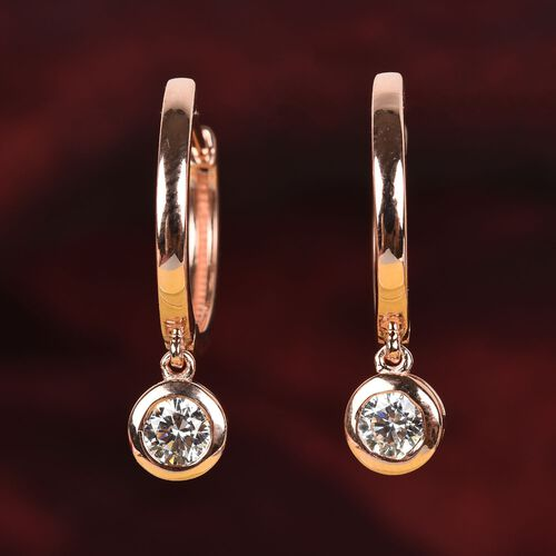 J Francis - Rose Gold Overlay Sterling Silver Earrings (with Clasp) Made with SWAROVSKI ZIRCONIA 1.74 Ct.
