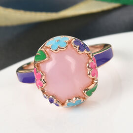 GP Itallian Garden Leaf and Flower - Pink Opal and Blue Sapphire Enamelled Ring in Rose Gold Overlay Sterling Silver 3.27 Ct.