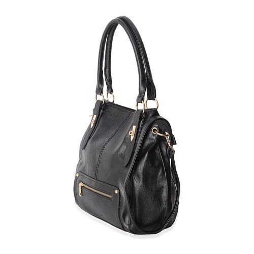 Classic Black Colour Large Tote Bag with Multi Pockets and Removable Shoulder Strap (Size 40x31.5x12 Cm)
