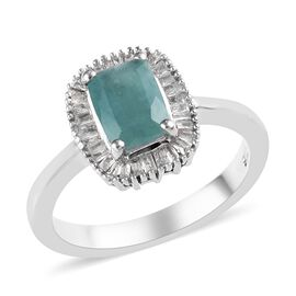 Extremely Rare Grandidierite (Cush 7x5mm), Diamond Ring in Platinum Overlay Sterling Silver 1.00 Ct.