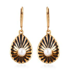 Fresh Water Pearl (1.75 Ct) 14K Gold Overlay Sterling Silver Fancy Earring  1.750  Ct.