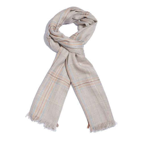 92% Merino Wool and 8% Silk Grey, Brown and Multi Colour Checks Pattern Scarf with Fringes (Size 180