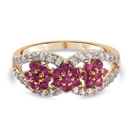 Burmese Ruby and Natural Cambodian Zircon Floral Ring in 14K Gold Overlay Sterling Silver 2.070 Ct.
