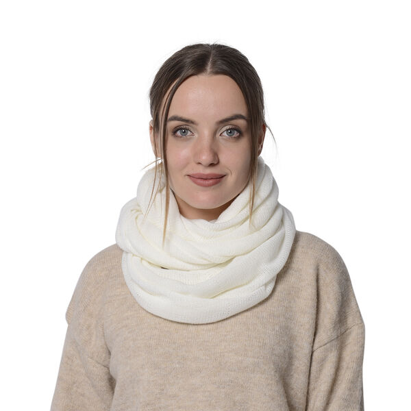 Designer Inspired-White Colour Infinity Scarf Size 77x70 Cm
