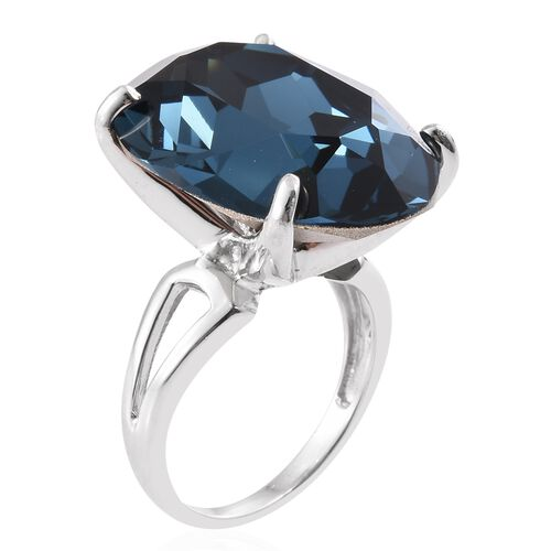 J Francis Crystal from Swarovski - Montana Crystal (Ovl) Ring in Platinum Overlay Sterling Silver, Silver wt 6.00 Gms.