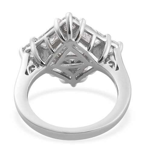 J Francis - Platinum Overlay Sterling Silver Ring Made with SWAROVSKI ZIRCONIA 7.09 Ct.
