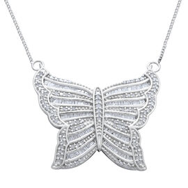 Designer Inspired Diamond (Rnd) Butterfly Necklace (Size 18) in Platinum Overlay Sterling Silver 1.0