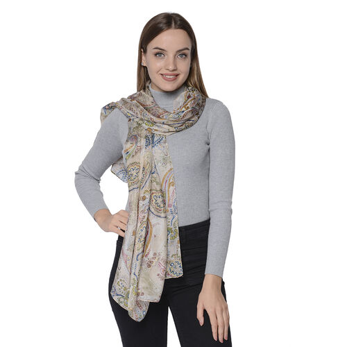 LA MAREY New Collection - 100% Mulberry Silk Paisley Print Scarf (Size 180x110cm) - White
