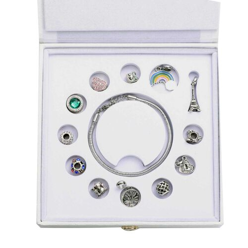 Super Find- 13 Piece Set -  Austrian multi Colour Crystal Pendants (4pcs), Charms (8pcs) and Bracelet (Size 7 with 1 inch Extender)
