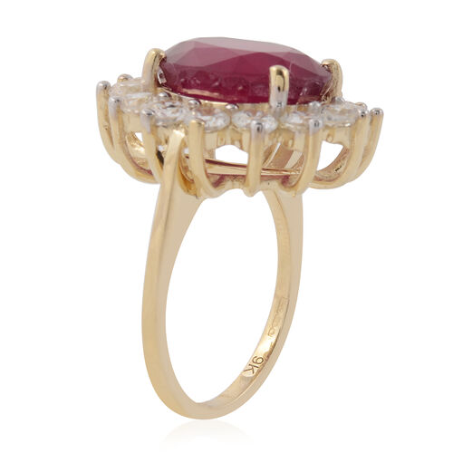 9K Yellow Gold AAA African Ruby (Ovl 12x10 mm), Natural White Cambodian Zircon Ring 9.40 Ct.