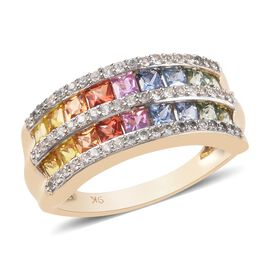 9K Yellow Gold AA Rainbow Sapphire (Sqr), Natural Cambodian Zircon  Ring 2.57 Ct.