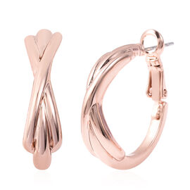Hoop Earrings (with Clasp Lock) in Rose Gold Tone