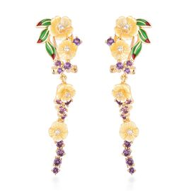 Jardin Collection - Yellow Mother of Pearl, Amethyst and Natural White Cambodian Zircon Enameled Ear