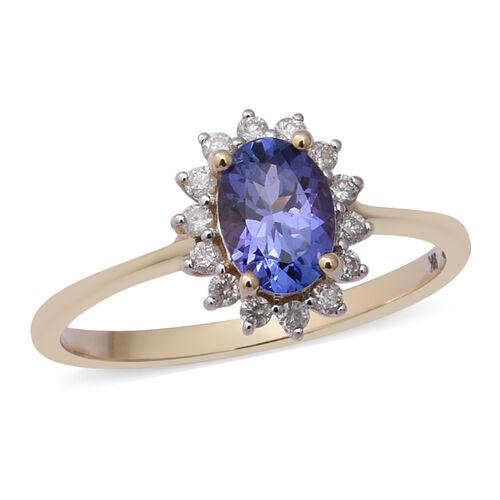 1 Carat Tanzanite and Diamond Halo Ring in 9K Yellow Gold 2 Grams I3 GH