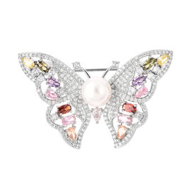 White Shell Pearl, Simulated Diamond, Simulated Multi Gemstone Butterfly Brooch in Silver Tone